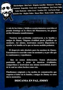 comunicado grupos antifascistas jimmy